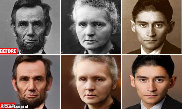 Scientists have used AI in an attempt to make these historical photos appear as if they were shot with modern equipment - from left,Abraham Lincoln,Marie Curie and Franz Kafka