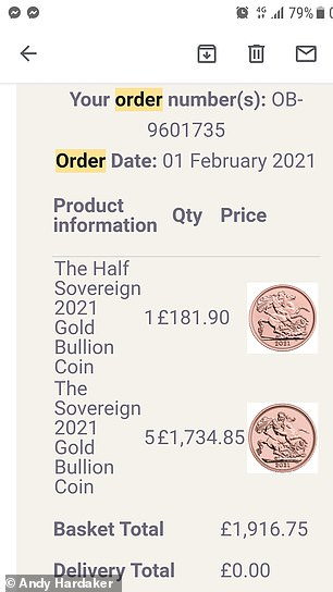 Andy Hardaker paid over £1,900 for 6 gold coins which did not arrive for over a month