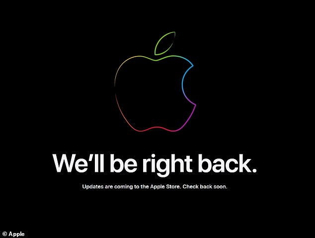 Screenshot of the message currently on display on the Apple Store homepage. Apple usually takes the Apple Store down in preparation for any major product unveiling