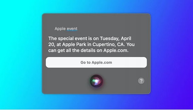 Upon being asked 'When is the next Apple Event,' Siri says 'The special event is on Tuesday, April 20, at Apple Park in Cupertino, CA