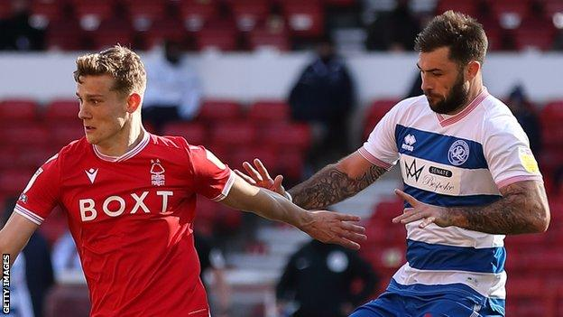 The incident involving Ryan Yates (left) and Charlie Austin (right) happened in the 43rd minute of Nottingham Forest's 3-1 win over QPR
