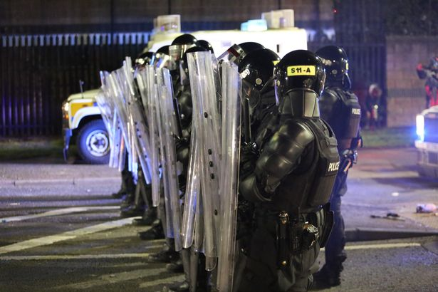 Police take security measures and deployed water cannons as rioters hurled petrol bombs, fireworks and stones