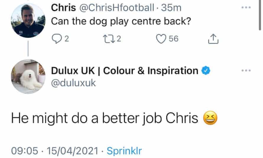 One of the tweets from the official Dulux UK account that mocked the abilities of Tottenham's central defenders.