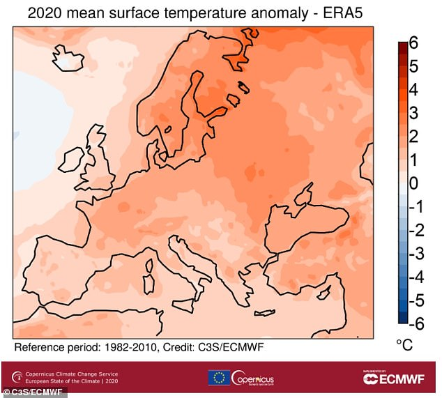 Europe had its warmest year on record in 2020. Image shows average surface air temperature anomaly for 2020 relative to the 1981¿2010 reference period (in °C)