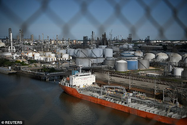 Carbon capture: Exxon Mobil would use chemicals to collect carbon in the air emitted by dozens of plants along the Houston Ship Channel (pictured)