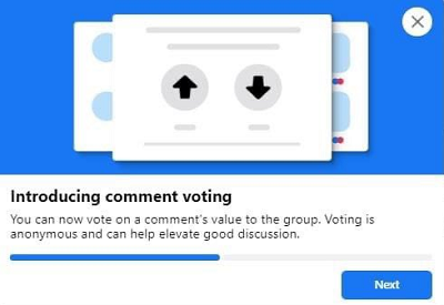 Facebook up and downvotes for group comments
