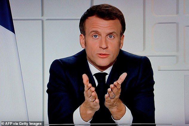 President Macron (pictured) has plunged France into lockdown as it struggles to cope with a rise in more contagious Covid variants, intensified by a disappointing vaccine rollout
