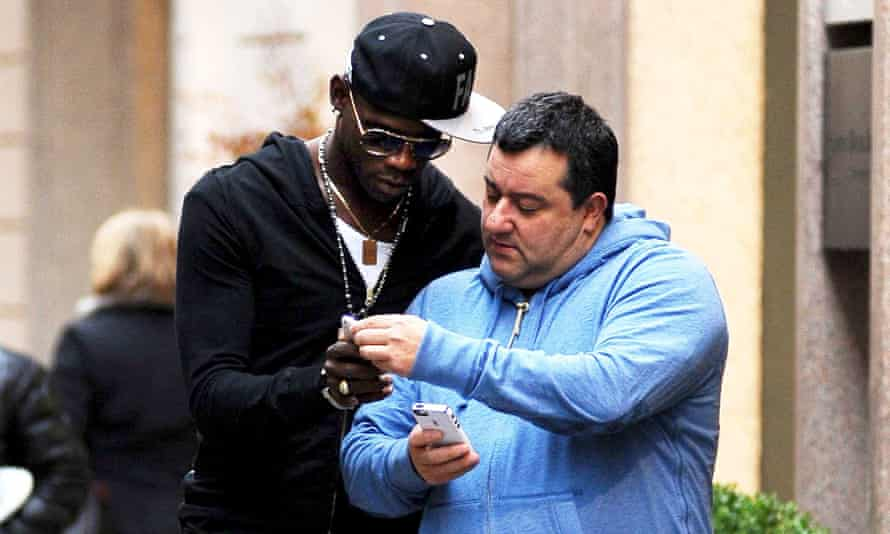 Mino Raiola (right), pictured with Mario Balotelli in Milan in 2013