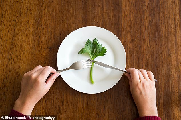In a bid to lose weight fast, 92 per cent of women and 35 per cent of men on a diet eat less than the recommended calorie intake of a seven-year-old, a study found. Pictured: meagre fare