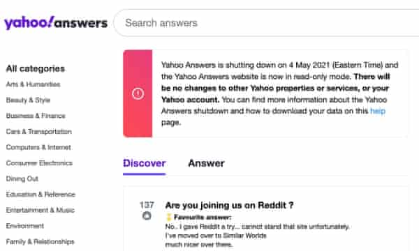 Yahoo answers is closing down