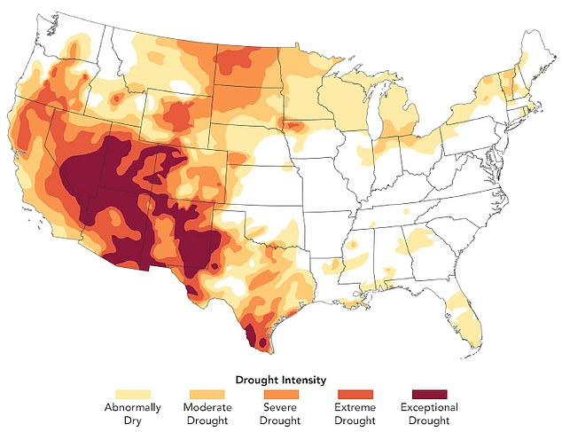 Nearly 50 percent of the US is experiencing some level of drought that experts fear will worsen over the next few months. Maps show Arizona, Utah, Nevada, Colorado and California are among the hardest hit states