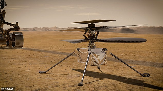 In this artist's concept, NASA's Ingenuity Mars Helicopter stands on the Red Planet's surface as NASA's Mars 2020 Perseverance rover (partially visible on the left) rolls away.Ingenuity has lowered all four legs but its still under the 'belly' ofPerseverance