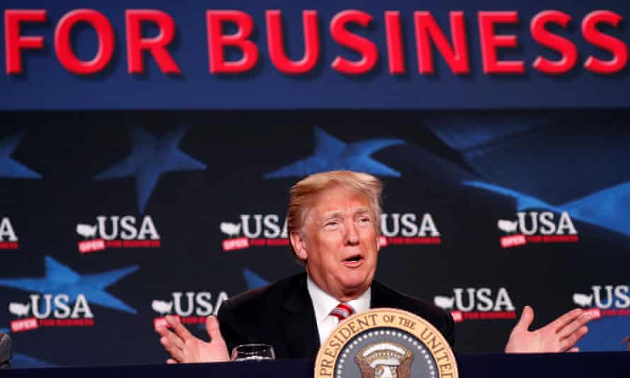Donald Trump speaks during a roundtable on tax cuts for Florida small businesses in April 2018.