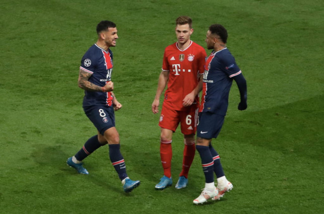 Neymar celebrated in front of Joshua Kimmich following PSG's win over Bayern Munich