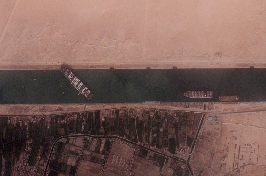 An image from the seventh BlackSky satellite, launched in March, shows the grounded Evergreen container ship that was stuck sideways in the Suez Canal, blocking passage of other ships. (BlackSky)