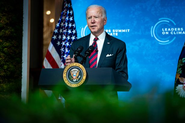 President Joe Biden delivers remarks during a virtual Leaders Summit on Climate