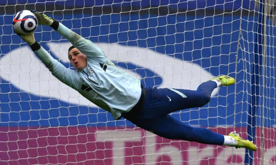 The Chelsea goalkeeper Kepa Arrizabalaga during the warm-up for Saturday's encounter with West Brom, which Chelsea lost 5-2.