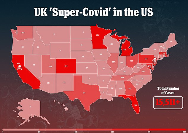 The coronavirus variant first identified in the UK has now been confirmed in every single U.S. state with at least 15,511 cases of the strain across the country