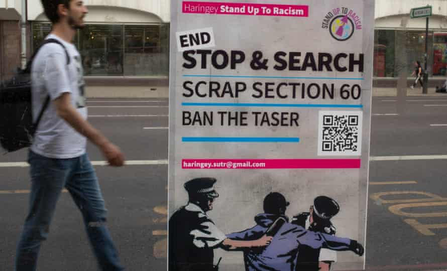 A poster calling for an end to section 60 - suspicion-less stop and search – near Tottenham police station, London, August 2020