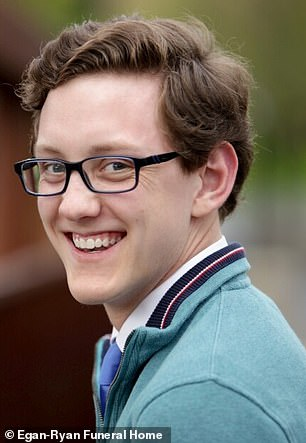 John Foley, 21 (pictured), a student at the University of Cincinnati in Ohio received the Johnson & Johnson coronavirus vaccine on Saturday and was discovered by his roommates on Sunday