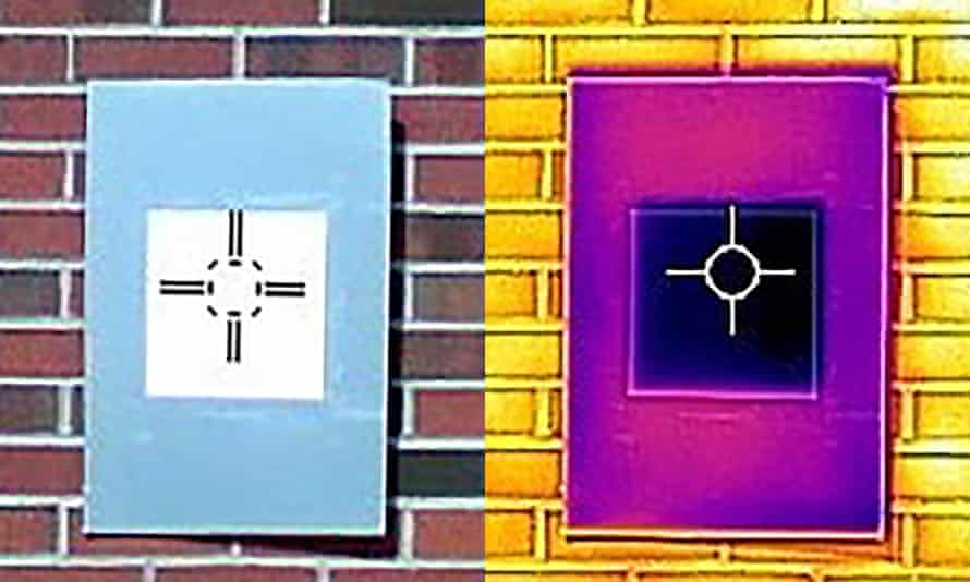 Infrared image shows how a sample of the 'whitest paint' (the dark purple square in the middle) cools the board below ambient temperature.