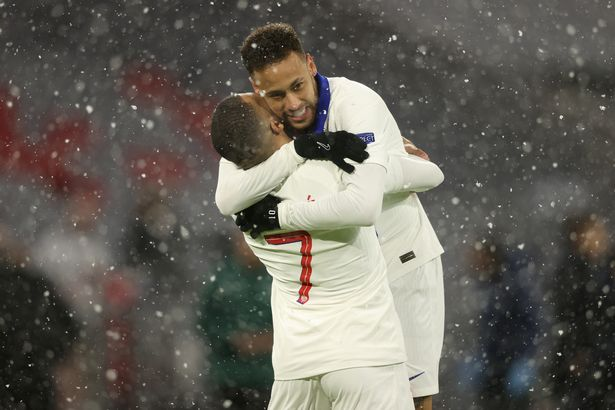 Mbappe and Neymar celebrate in the Bavarian snow
