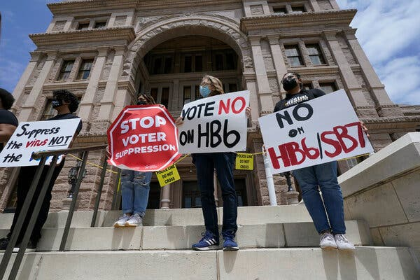 Protesters at the State Capitol in Austin, Texas, demonstrated against Republicans' proposed bills to restrict voting in the state.