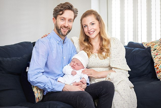 Dan Hyde, above, with his wife Katie and first child, Freddy, who was born seven weeks ago