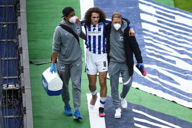 The Frenchman suffered a broken metatarsal in Hertha's win over Freiburg with the midfielder now set to return to Arsenal