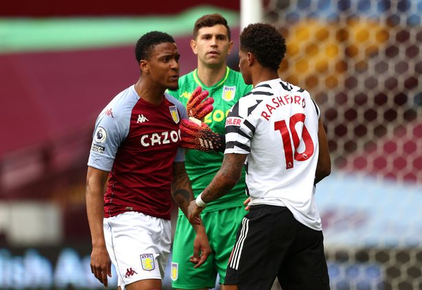 Marcus Rashford and Ezr Konsa went head-to-head after a scuffle in the penalty area