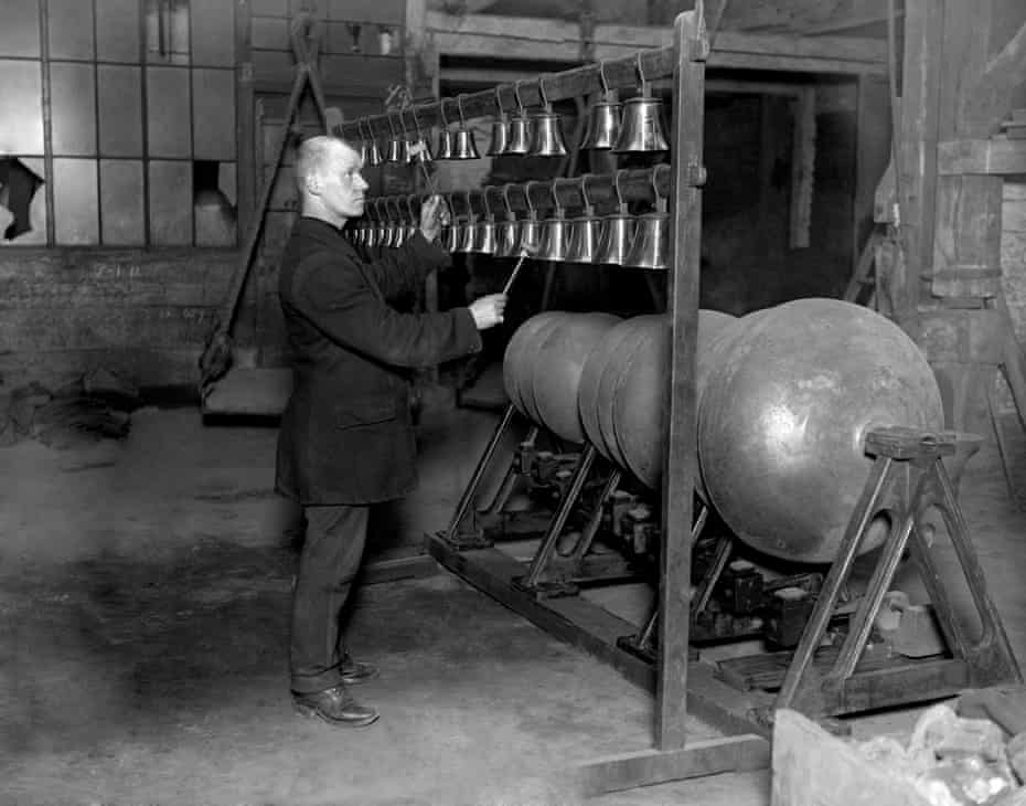 A photo dated 1919 of a worker at the Whitechapel Bell Foundry.