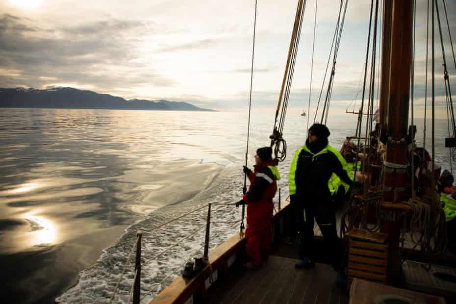 The North Sailing vessel off the north Iceland coast.