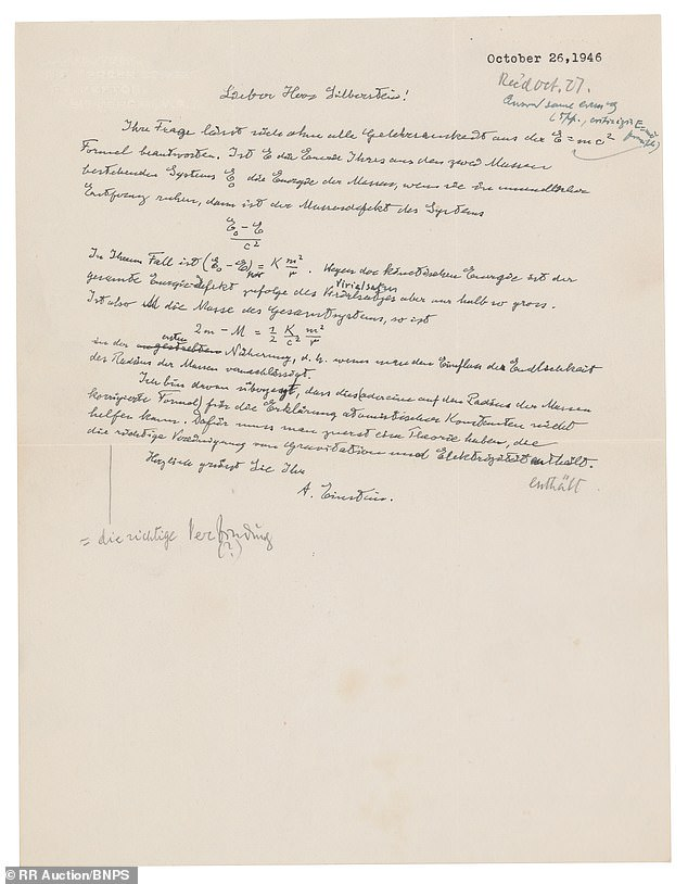 'It's an important letter from both a holographic and a physics point of view, as it shows Einstein's thinking on one of the most basic of all physical problems,' said RR Auction's executive vice president, Bobby Livingston