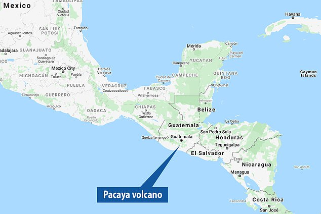 Pacaya is one of three active volcanoes in Guatemala and its eruptions can be seen from Guatemala City, some 15 miles away