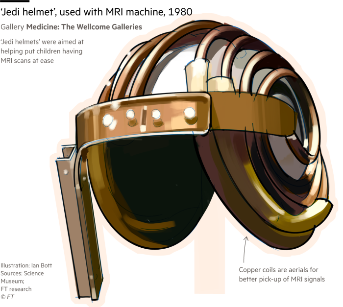 Illustration of a 'Jedi' helmet, used to improve imagery of an MRI machine, on display at London's Science Museum
