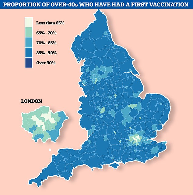 London has the ten areas with the lowest vaccine uptake in the UK, NHS figures show