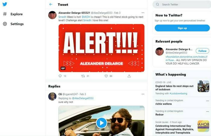 Alexander Delarge'sTwitter alert appeared shortly before the end of the US trading day, but within minutes the price of MedX had soared30 per cent