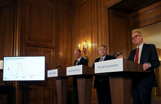 Boris Johnson, alongside Chief Medical Officer for England Chris Whitty (left) and Chief Scientific Adviser Sir Patrick Vallance (right), during the March 12 press conference