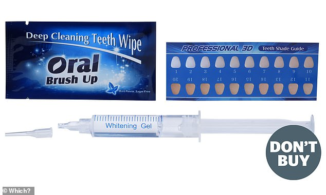 The 'Pro teeth whitening gel' from BMT store on AliExpress contains 13.9% hydrogen peroxide