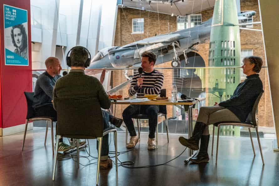 James Graham, centre, talks to conflict eyewitness Jo Taylor, right, and IWM curator Craig Murray.