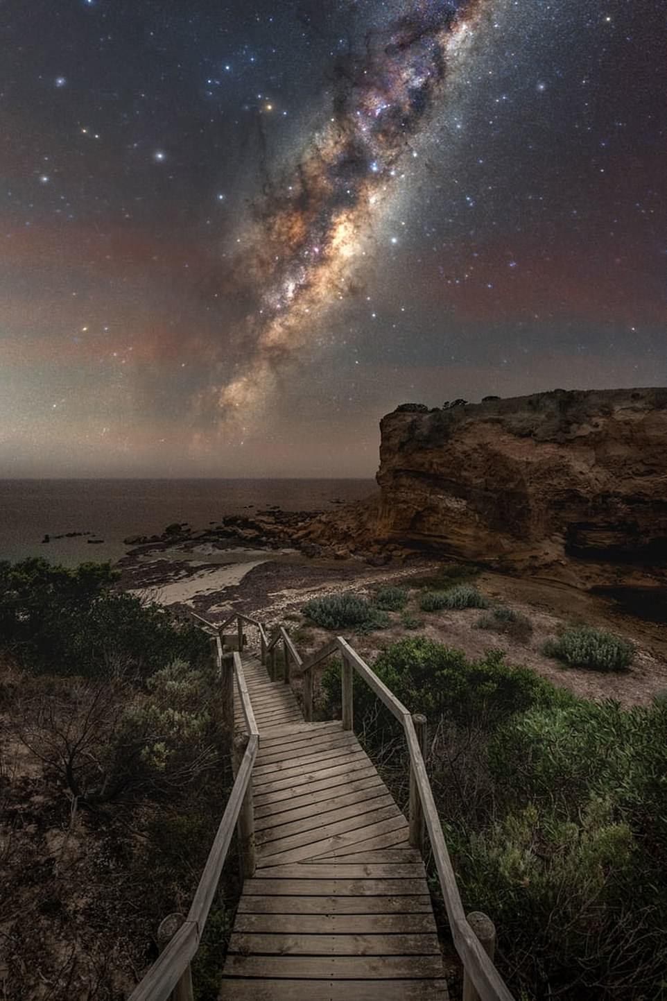 """'The Forgotten side of Kangaroo Island'— by 'Blntpencil' at Baudin Beach, Kangaroo Island, Australia. They said: 'It is a capture of the rising galactic centre floating above the ocean and represents the way of life on the island """"where people live at one with nature"""" '"""