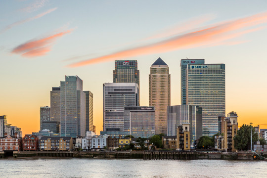 Canary Wharf is a major financial district in the East End. (Getty)