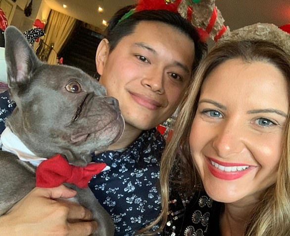 Millie and Chris Chea (pictured last Christmas) had to abandon plans to get married in France and settle for asmall, covid-friendly in late December