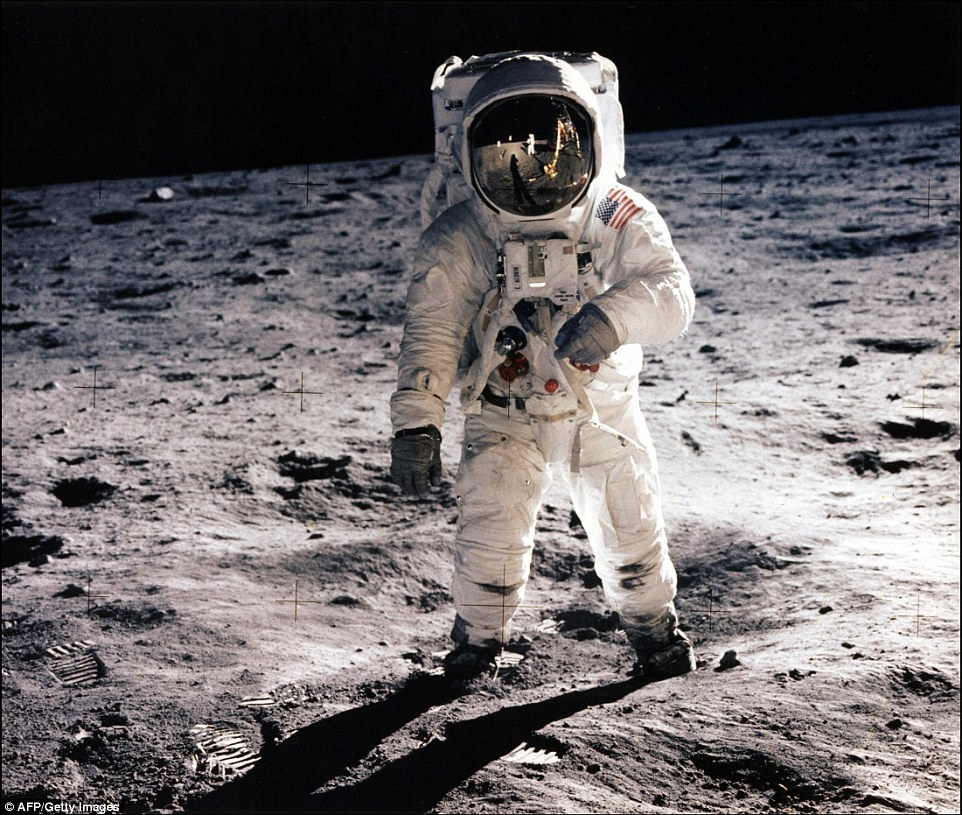 Although he was not alive to see his speech become a reality, NASA landed the first men on the moon before the end of the decade. On July 20, 1969, Neil Armstrong and Buzz Aldrin (pictured) planted the first human footprints on the lunar surface