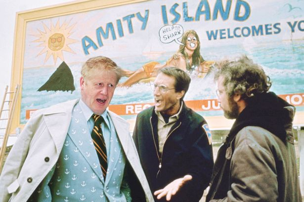 A previous mock-up of Boris Johnson as the mayor of Jaws, his go-to hero. Not so funny any more.