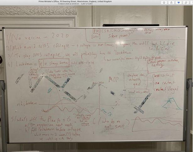 """A picture taken from the Twitter feed of Dominic Cummings of an image of a whiteboard on which the Government's """"plan B"""" for the first wave of coronavirus was sketched out"""