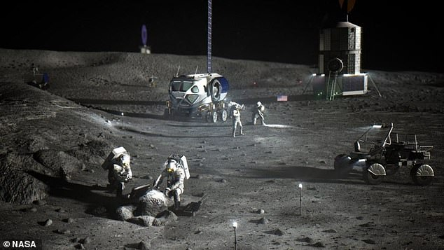 An lllustration of NASA astronauts on the lunar South Pole