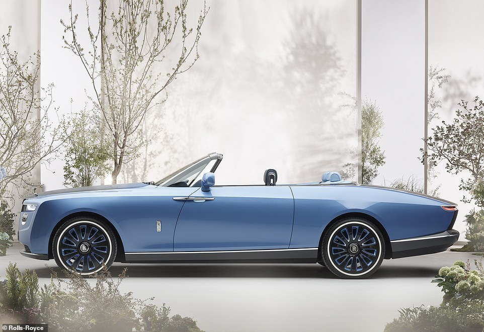 Measuring just under 5.8 meters long, the new four-seater two-door Rolls-Royce Boat Tail is the first to be built by Rolls-Royce's new Coachbuild department at the company's boutique headquarters in Goodwood, Sussex