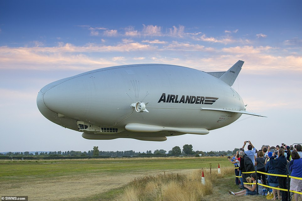 Pictured is the Airlander 10 on its first test flight inCardington, Bedfordshire, in August 2016