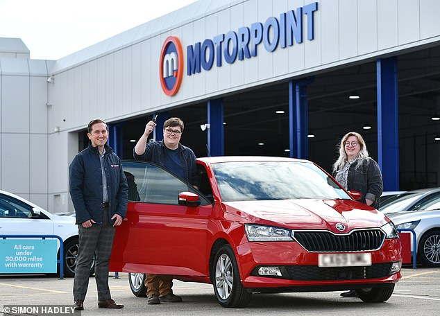 Peter Crowther, 29, is the first person qualifying for the Birmingham CAZ Scrappage Scheme to utlilise the incentive to purchase a zone-compliant car from Motorpoint this week